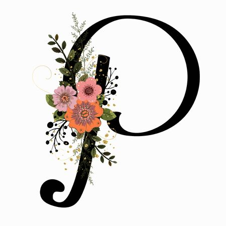Floral Alphabet - Letter P with flowers and leaves hand drawn. Flowers bouquet composition.