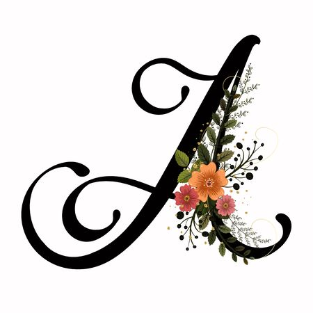 Floral Alphabet - Letter A with flowers and leaves hand drawn. Flowers bouquet composition.