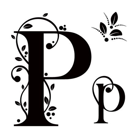 Decorated Alphabet with ornaments vintage vector, Letter P upper and lower case with leaves vector. Decoration vintage for invites card and other concept ideas. Illustration alphabet Ilustração