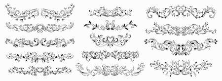 wreath design ornaments with flowers and hearts vectors. Branches with Ornaments vector. Doodle design elements. Decorative swirls dividers Stock Illustratie