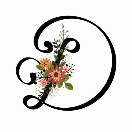 Floral Alphabet - Letter D with flowers and leaves hand drawn. Flowers bouquet composition.