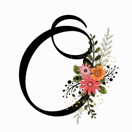 Floral Alphabet - Letter O with flowers and leaves hand drawn. Flowers bouquet composition. Vettoriali