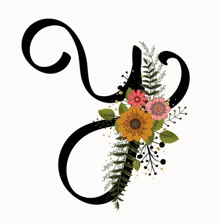 Floral Alphabet - Letter Y with flowers and leaves hand drawn. Flowers bouquet composition. Vettoriali