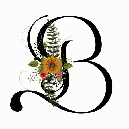 Floral Alphabet - Letter B with flowers and leaves hand drawn. Flowers bouquet composition.