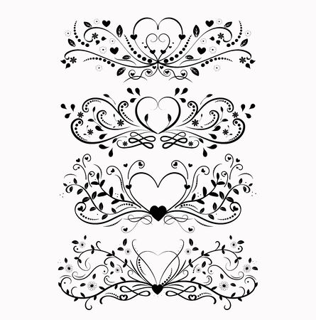 Heart love vector with vintage ornaments. Love you, Hearts illustration vintage. Infinity love, valentines day greeting card.