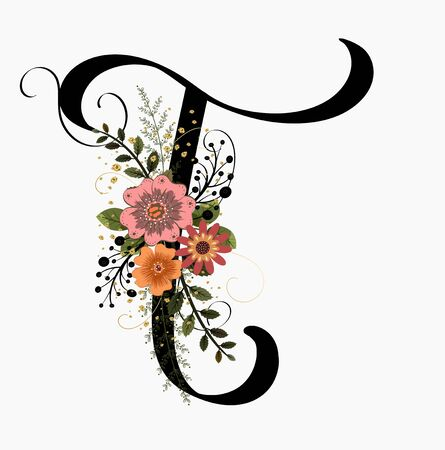 Floral Alphabet - Letter T with flowers and leaves hand drawn. Flowers bouquet composition.