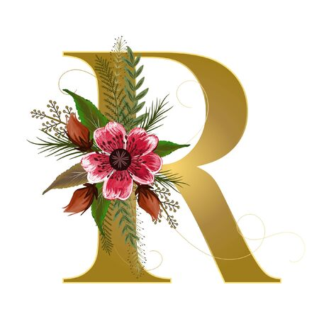 Golden Alphabet flowers - Letter R with watercolor flowers and leaves hand drawn on paper. Flowers bouquet composition. Decoration for invites card and other concept ideas.