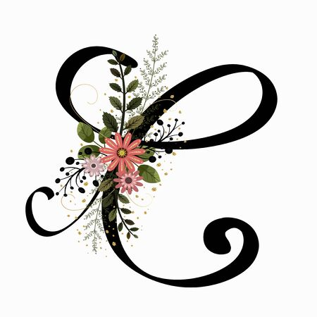 Floral Alphabet - Letter C with flowers and leaves hand drawn. Flowers bouquet composition. Vektorové ilustrace