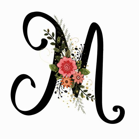 Floral Alphabet - Letter M with flowers and leaves hand drawn. Flowers bouquet composition. Vektorové ilustrace