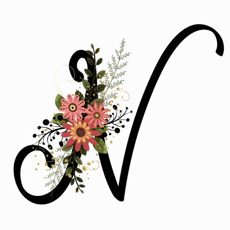 Floral Alphabet - Letter N with flowers and leaves hand drawn. Flowers bouquet composition.