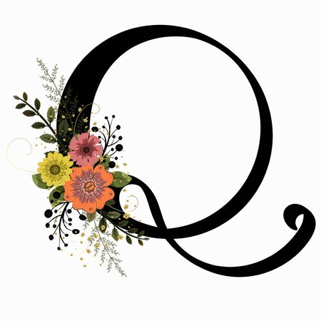 Floral Alphabet - Letter Q with flowers and leaves hand drawn. Flowers bouquet composition.