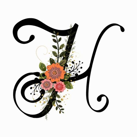 Floral Alphabet - Letter H with flowers and leaves hand drawn. Flowers bouquet composition.