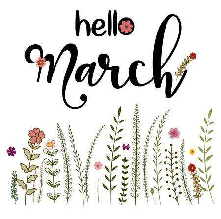 Hello March month with flowers and leaves. Floral decoration Illustration month March