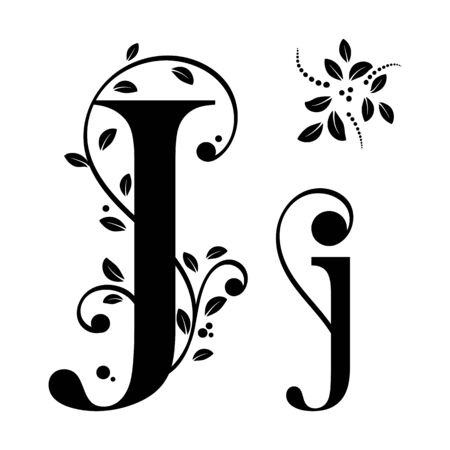 Decorated Alphabet with ornaments vintage vector, Letter J upper and lower case with leaves vector. Decoration vintage for invites card and other concept ideas. Illustration alphabet Vecteurs