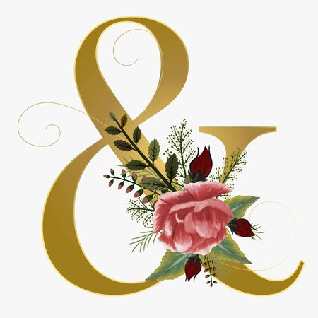 Floral Alphabet Gold Ampersand flowers - Letter & with watercolor flowers and leaves hand drawn on paper. Flowers bouquet composition. Decoration for invites card and other concept ideas.