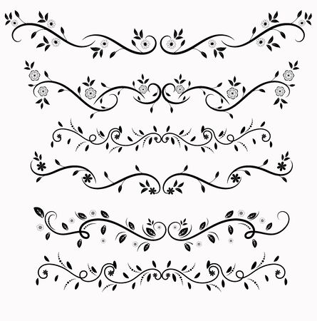 Wreath leaves vector with Ornaments design. Set Collection of Vintage Ornament Elements, Hand drawn vector dividers. Doodle design elements. Decorative swirls dividers.