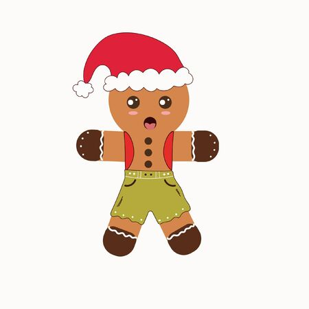 Gingerbread cookie vector. Christmas cookies illustration Illustration