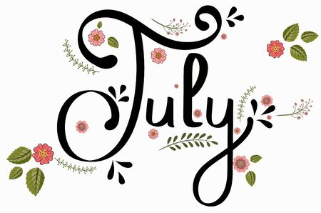 Hello July month with flowers and leaves. Floral decoration Illustration month July