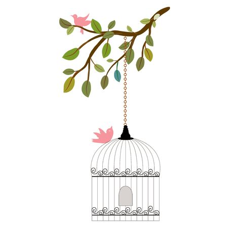 Birdcage vector with flowers. Bird cage vintage. Wedding invitation Save the date Bird cage illustration. Cage vector. Floral clip art. Leaves vector