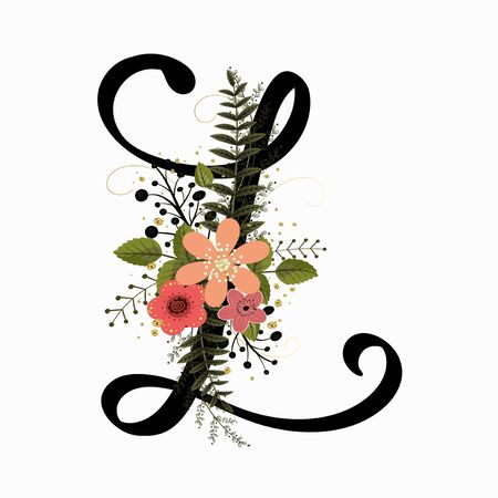 Floral Alphabet - Letter L with flowers and leaves hand drawn. Flowers bouquet composition.