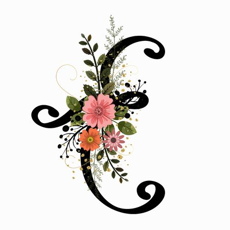 Floral Alphabet - Letter E with flowers and leaves hand drawn. Flowers bouquet composition.