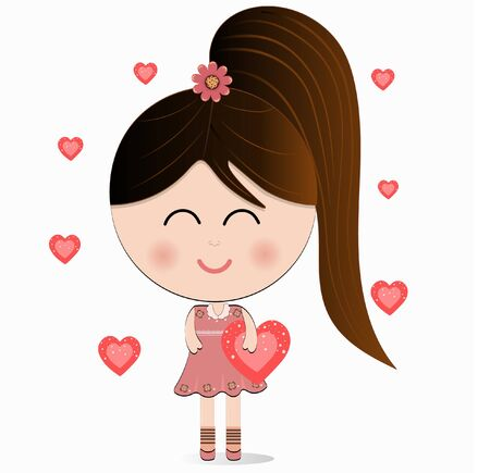 Cute cartoon girl with flowers and hearts vector 일러스트