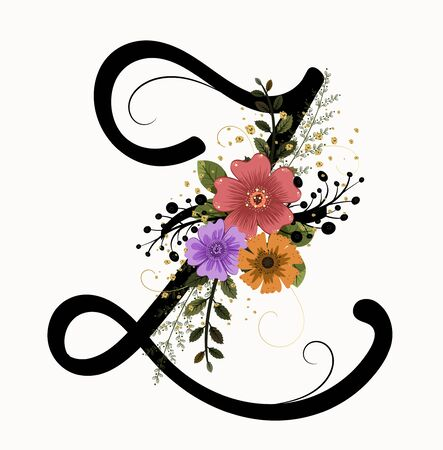Floral Alphabet - Letter Z with flowers and leaves hand drawn. Flowers bouquet composition.