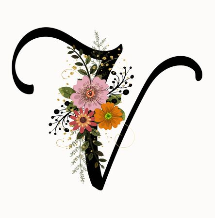 Floral Alphabet - Letter V with flowers and leaves hand drawn. Flowers bouquet composition.