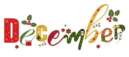 December text creative with gift, flowers christmas and more. Illustration December 일러스트