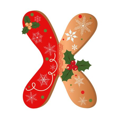 COOKIE ALPHABET gingerbread, Letter X cookie alphabet with Christmas flowers and snowflakes. Illustration Cookies 일러스트