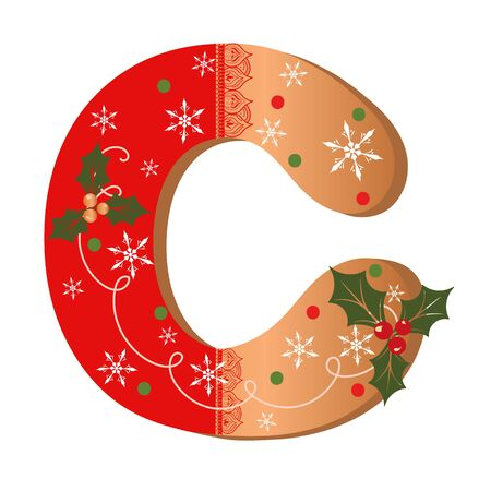 COOKIE ALPHABET gingerbread, Letter C cookie alphabet with Christmas flowers and snowflakes. Illustration Cookies 일러스트