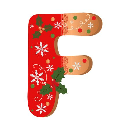 COOKIE ALPHABET gingerbread, Letter F cookie alphabet with Christmas flowers and snowflakes. Illustration Cookies