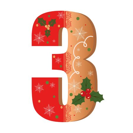 Numbers Gingerbread cookies vector - number 3 with flowers, leaves christmas and snowflakes. Illustration cookies numbers