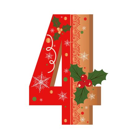 Numbers Gingerbread cookies vector - number 4 with flowers, leaves christmas and snowflakes. Illustration cookies numbers