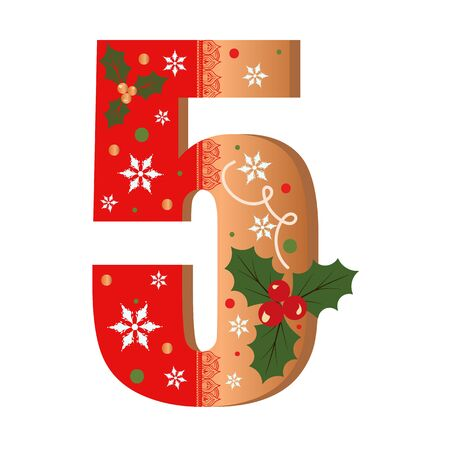 Numbers Gingerbread cookies vector - number 5 with flowers, leaves christmas and snowflakes. Illustration cookies numbers