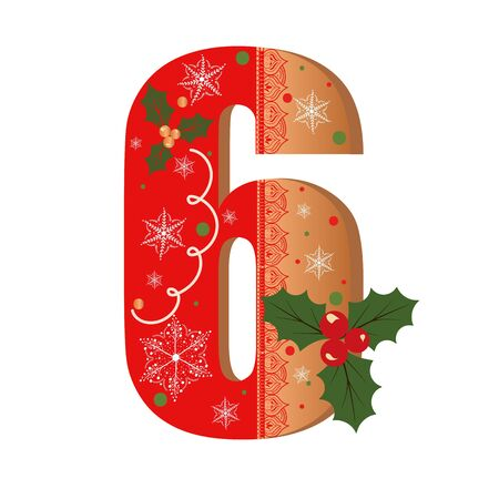 Numbers Gingerbread cookies vector - number 6 with flowers, leaves christmas and snowflakes. Illustration cookies numbers