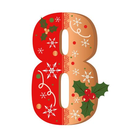 Numbers Gingerbread cookies vector - number 8 with flowers, leaves christmas and snowflakes. Illustration cookies numbers