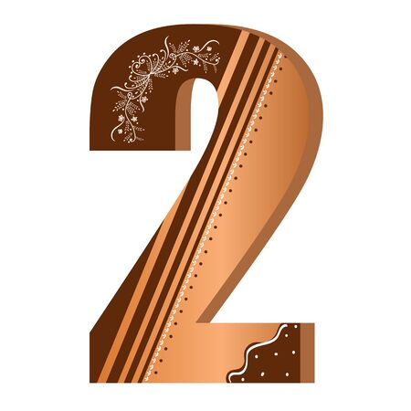 Numbers cookies chocolate vector - number 2 with flowers, leaves holidays and ornaments. Illustration cookies numbers 일러스트