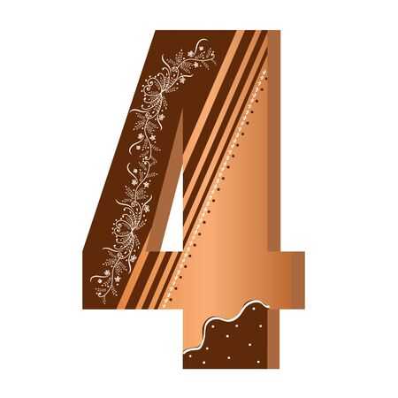 Numbers cookies chocolate vector - number 4 with flowers, leaves holidays and ornaments. Illustration cookies numbers