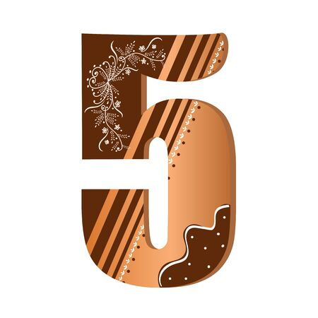 Numbers cookies chocolate vector - number 5 with flowers, leaves holidays and ornaments. Illustration cookies numbers 일러스트
