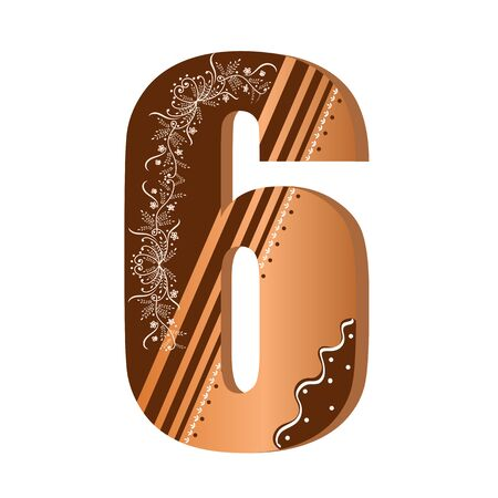Numbers cookies chocolate vector - number 6 with flowers, leaves holidays and ornaments. Illustration cookies numbers