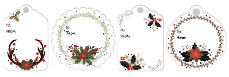 Christmas labels vector- decorations with flowers and leaves for name tags for gifts. Wreath Christmas illustration