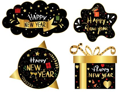 Happy New Year badge handwriting with golden design stars, hearts, and leaves. Black background, Illustration holiday 일러스트