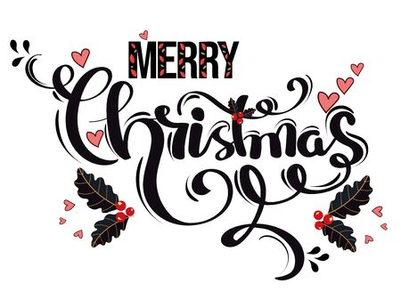 December Merry Christmas text vector and Typography decoration creative. Elements, leaves, flowers and more. Illustration merry Christmas 일러스트