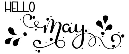 Hello May. May month vector hand lettering with ornaments and leaves. Floral decoration. Illustration month may