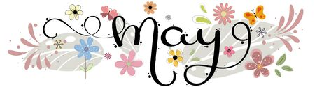 Hello May. May month vector hand lettering with flowers, butterflies, birds and leaves. Floral decoration. Illustration month may 일러스트