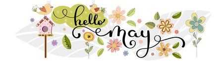 Hello May. May month vector hand lettering with flowers, birds house and leaves. Floral decoration. Illustration month may 일러스트