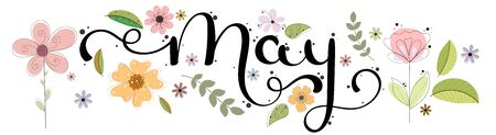 Hello May. May month vector hand lettering with flowers and leaves. Floral decoration. Illustration month may