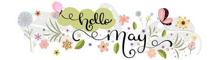 Hello May. May month vector hand lettering with flowers, butterflies and leaves. Floral decoration. Illustration month may 일러스트