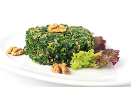 spinach salad with nuts Stock Photo